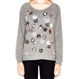 Lauren Moshi ☻ Grateful Dead Pins Knit Sweatshirt